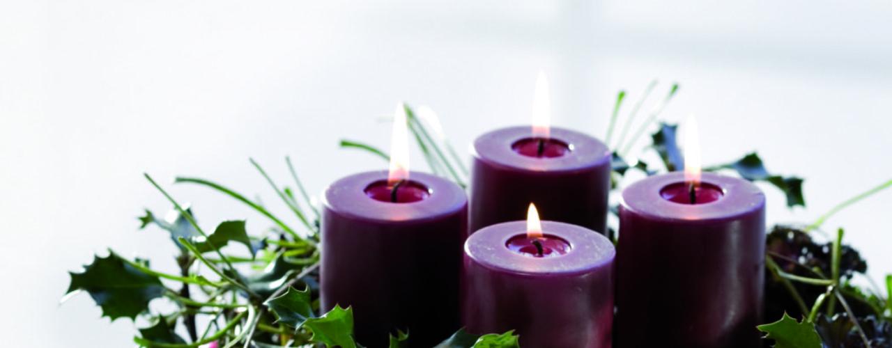 Kreativ adventskrans med Brassica, Hoya og Ilex. Blanke kuler i lilla setter prikken over ien
