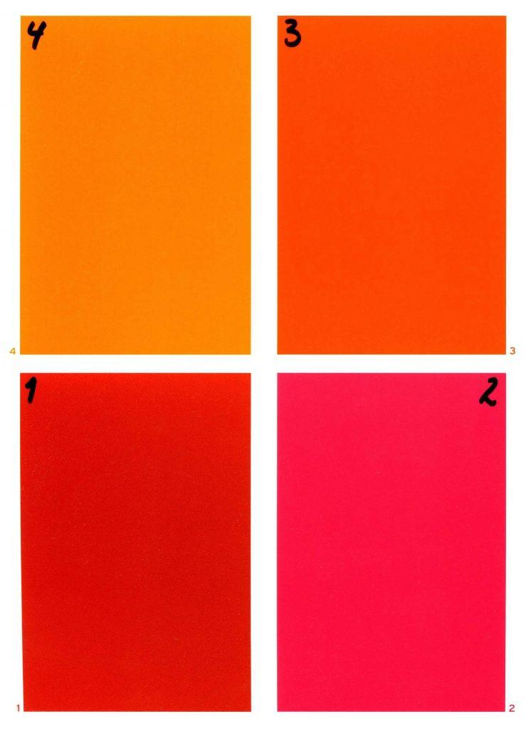 Fargetest rødfarger