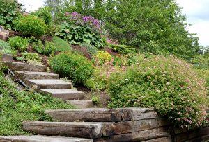 Blomsterbed i skråning, bratt helling i hagen