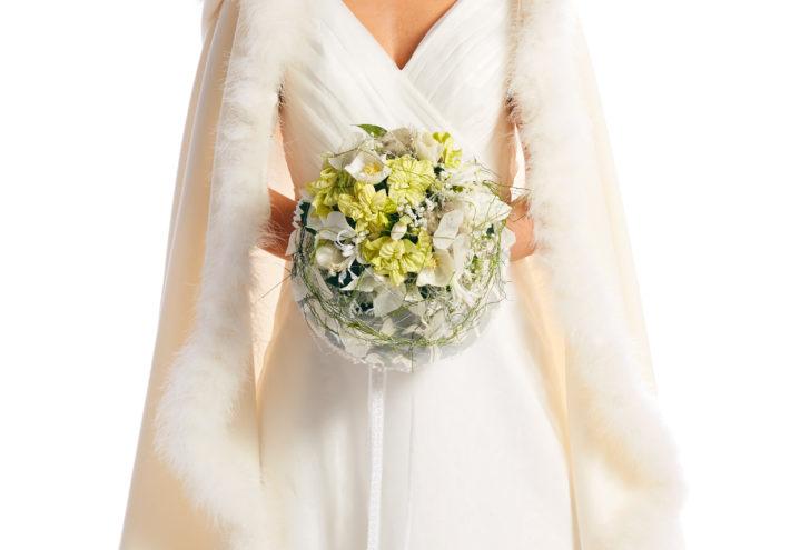 Julestjerne brudebukett hvite stjerner