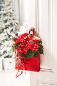 Velkommen hjem - dørdekorasjon med julestjerner