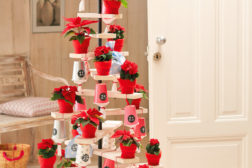 Julekalender i fullformat – ditt eget tre med kopper med tall fra 1 til 24