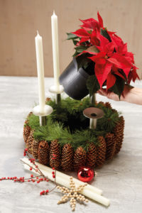 Slik lager du adventskrans med julestjerner og naturmaterialer: Trinn 5