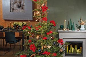 Juletre pyntet med julestjerner