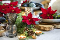 Tilfeldig eller nøye planlagt; klassisk borddekning med naturmaterialer og julestjerner