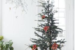 Atlasseder juletre, smykket med julestjerner som dekorasjon