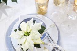 Kuverdekorasjoner gjør julepyntede bord ekstra festlige