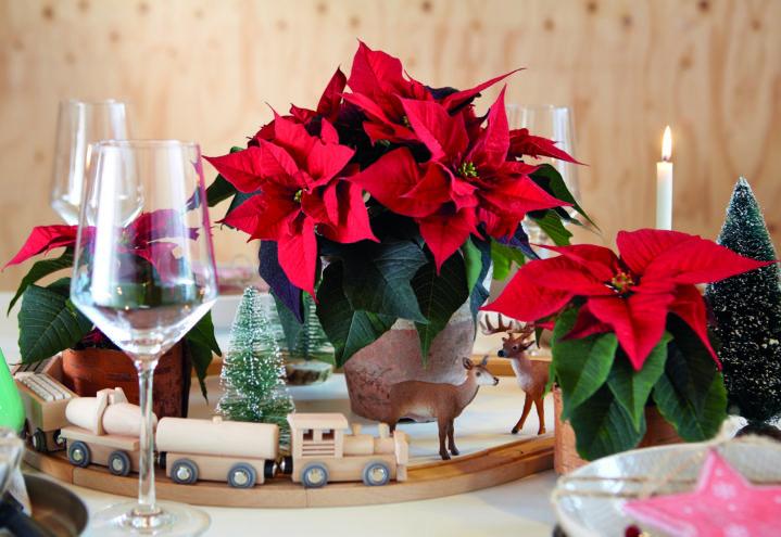 Juledekorasjon med tog for et festlig julebord